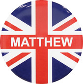 "A Great Britain Flag decored circle badge that contains the word ""Matthew"""